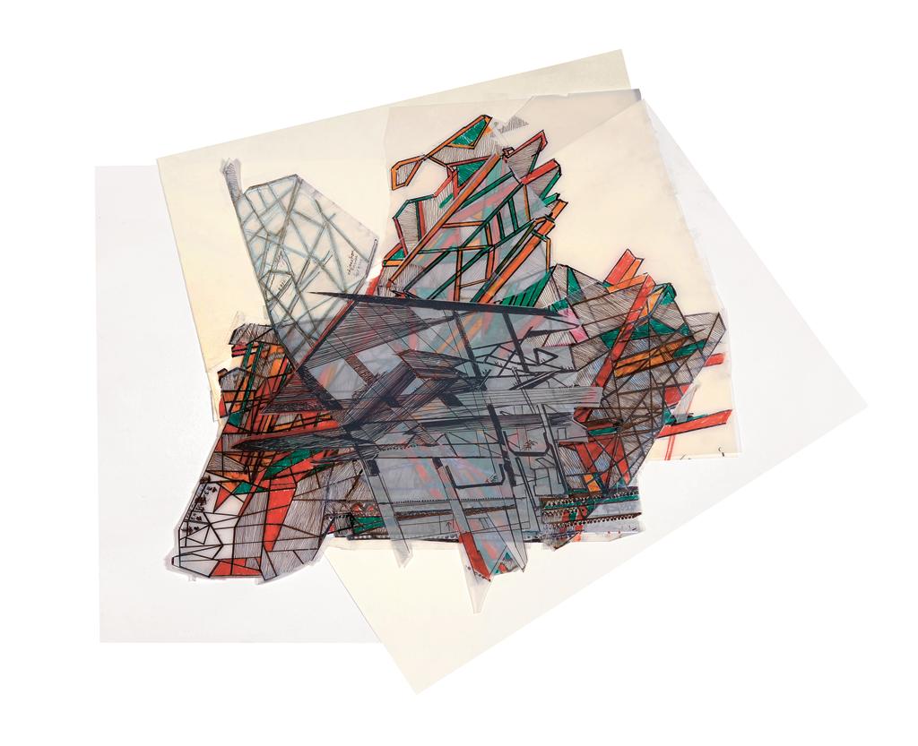Claude Parent, Nouveau Musée 2014-2015, 80 x 86 cm.
