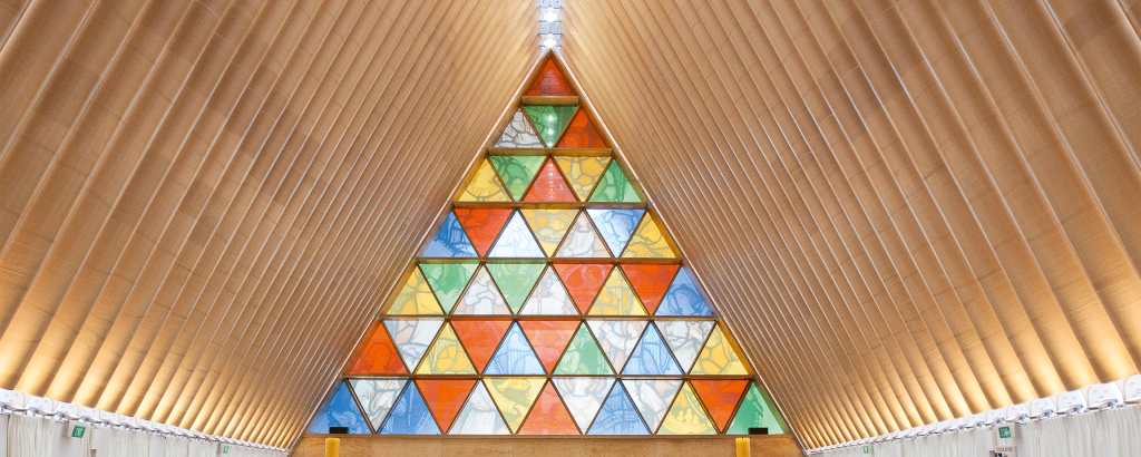 Shigeru Ban +  Warren and Mahoney, Cardboard Church, Christchurch, Nouvelle-Zélande. © Bridgit Anderson