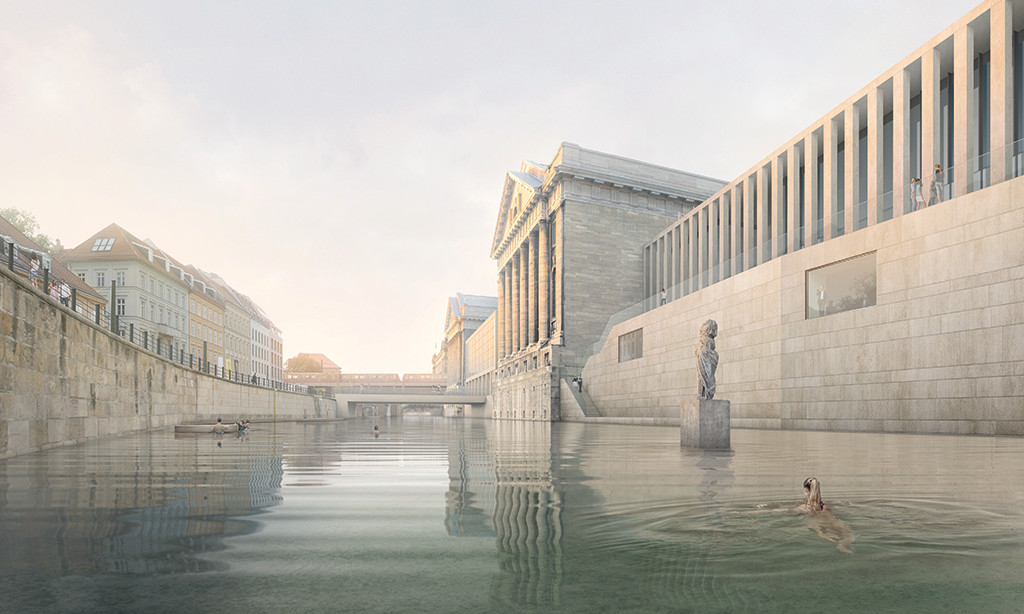 © 2016 realities:united for Flussbad Berlin e.V. Swimming area along the Museum Island with James Simon Gallery, Pergamon Museum and Bode Museum (Visualization).
