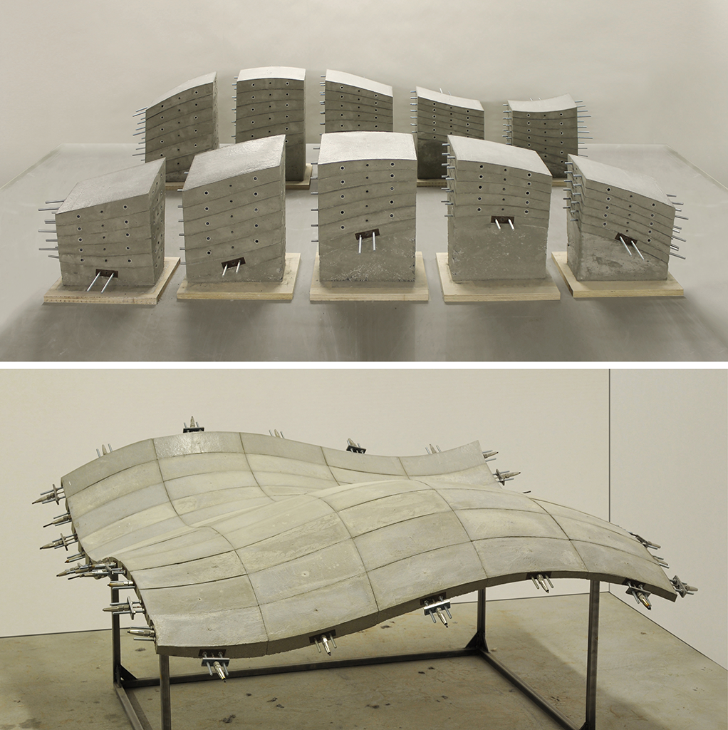 1:10 Prototype of a post-tensioned shell structure produced using the CASTonCAST system (2015). Lluís Enrique and Joseph Schwartz.