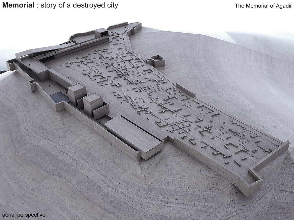Destroyed City Told, perspective aérienne. ©BOM architecture