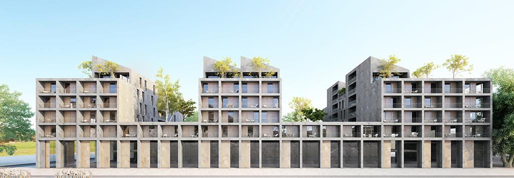100 logements à Bordeaux, en cours, façade. ©BOM architecture