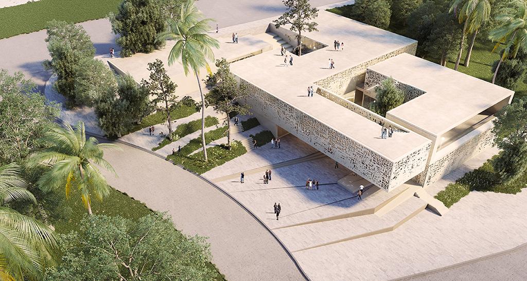 Maison de l'architecture de Tanger, en cours, perspective aérienne. ©BOM architecture