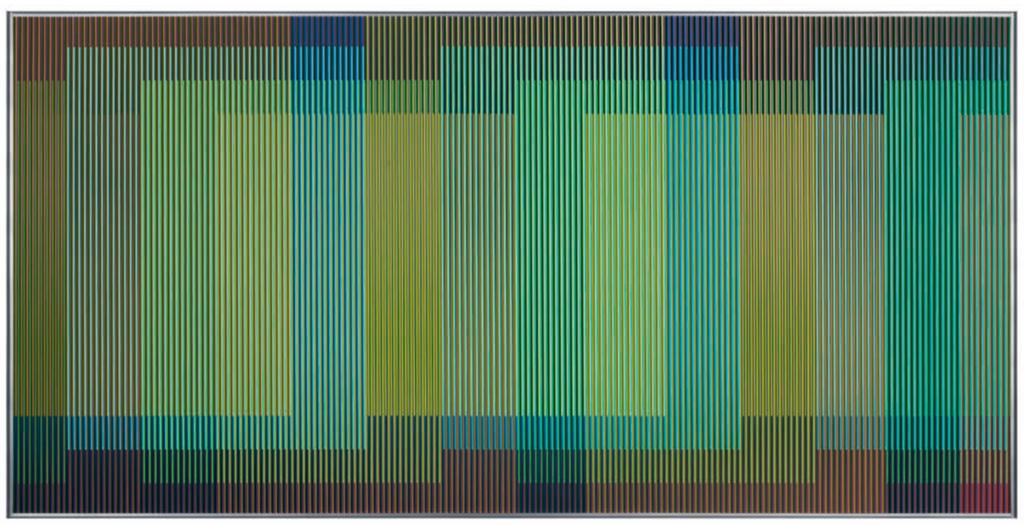 Physichromie 1929 – Paris 2014, Chromographie sur Aluminium, 100 x 200 cm. © Carlos Cruz-Diez / Adagp, Paris 2017.