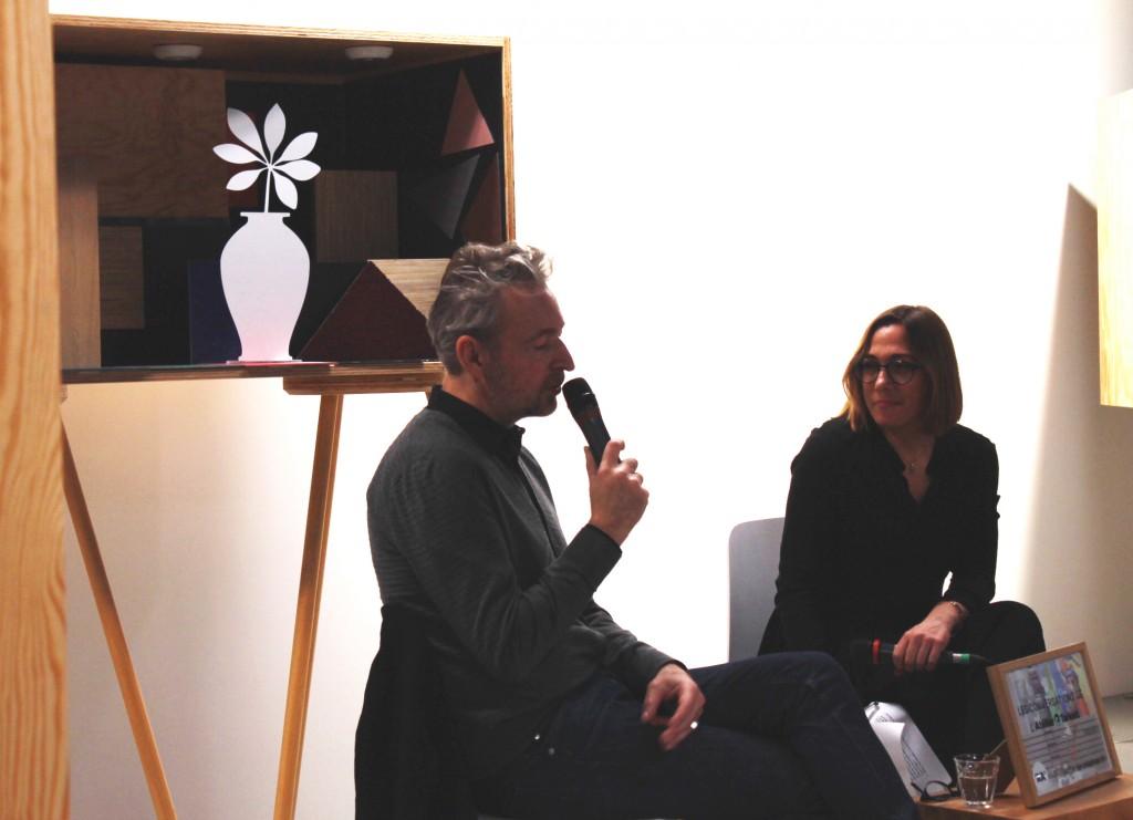 Eric Reinhardt et Emmanuelle Borne lors de la soirée Affinités Créatives #1, à l'Atelier Tarkett © Mathilde Weill