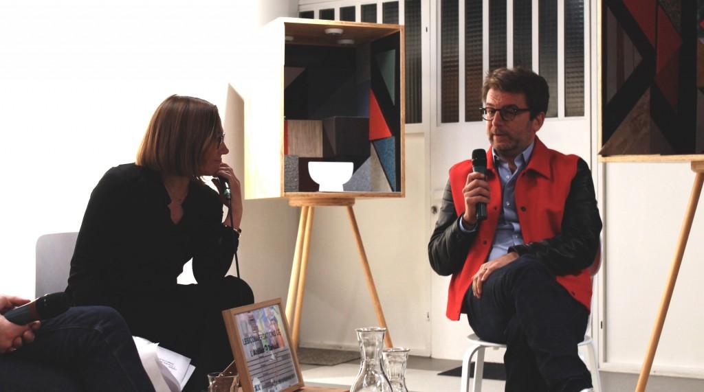 Emmanuelle Borne et Aldric Beckmann lors de la soirée Affinités Créatives #1, à l'Atelier Tarkett © Mathilde Weill