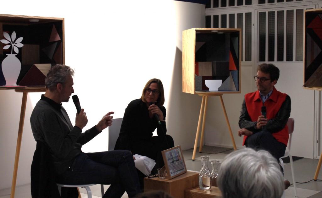 Eric Reinhardt, Emmanuelle Borne et Aldric Beckmann lors de la soirée Affinités Créatives #1, à l'Atelier Tarkett © Mathilde Weill