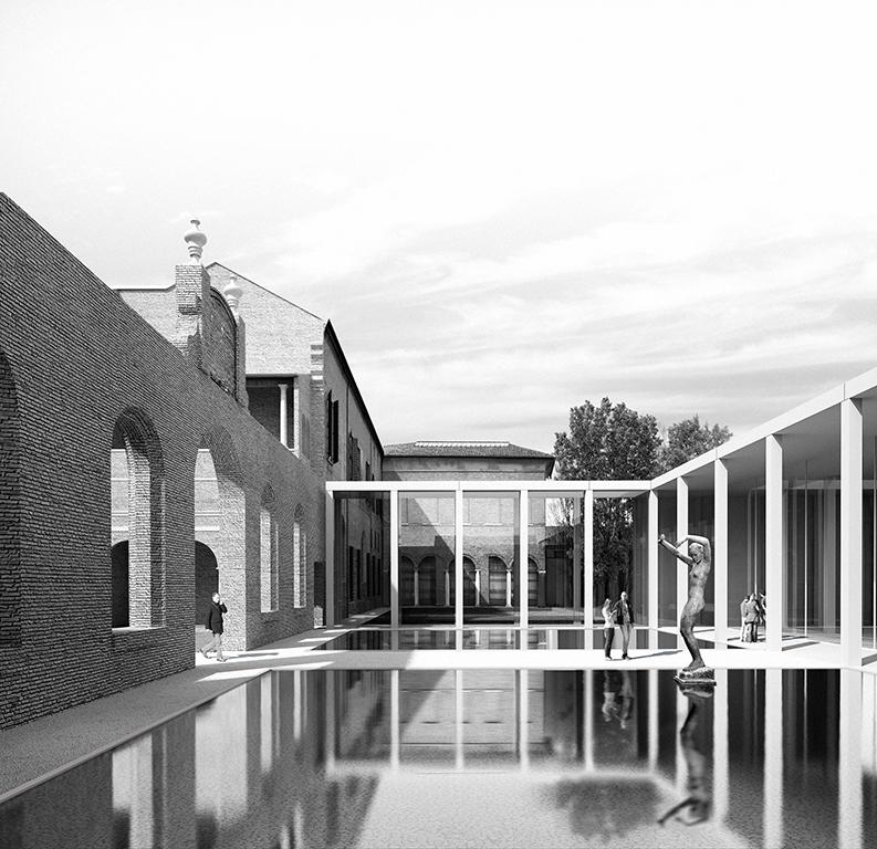 Palazzo dei Diamanti Projet lauréat pour l'extension du Palazzo dei Diamanti à Ferrara. Hiver 2017. © Labics