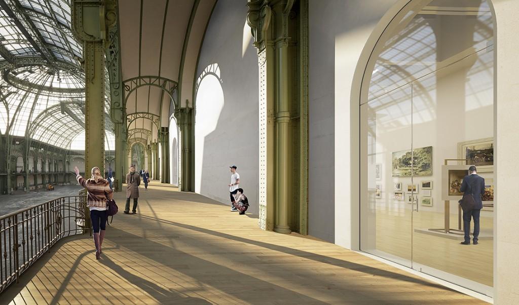 Grand Palais, balcons de la Nef, simulation 2018 © LAN