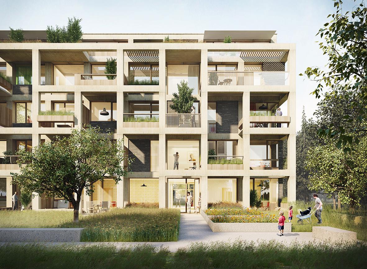 Projet lauréat pour la conception de l'ensemble de logements n°2 dans le quartier du Parc Réimerwee à Luxembourg. 2016. © Tank