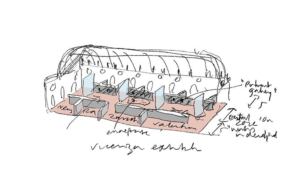 Exhibition concept, couloured sketch (2018) © David Chipperfield