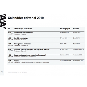 Calendrier éditorial 2019