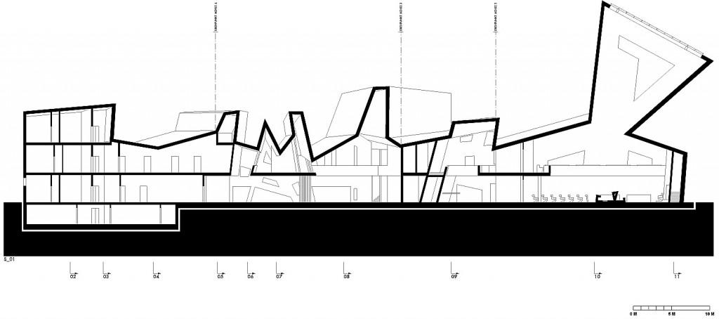 Coupe longitudinale © Manuel Herz Architects