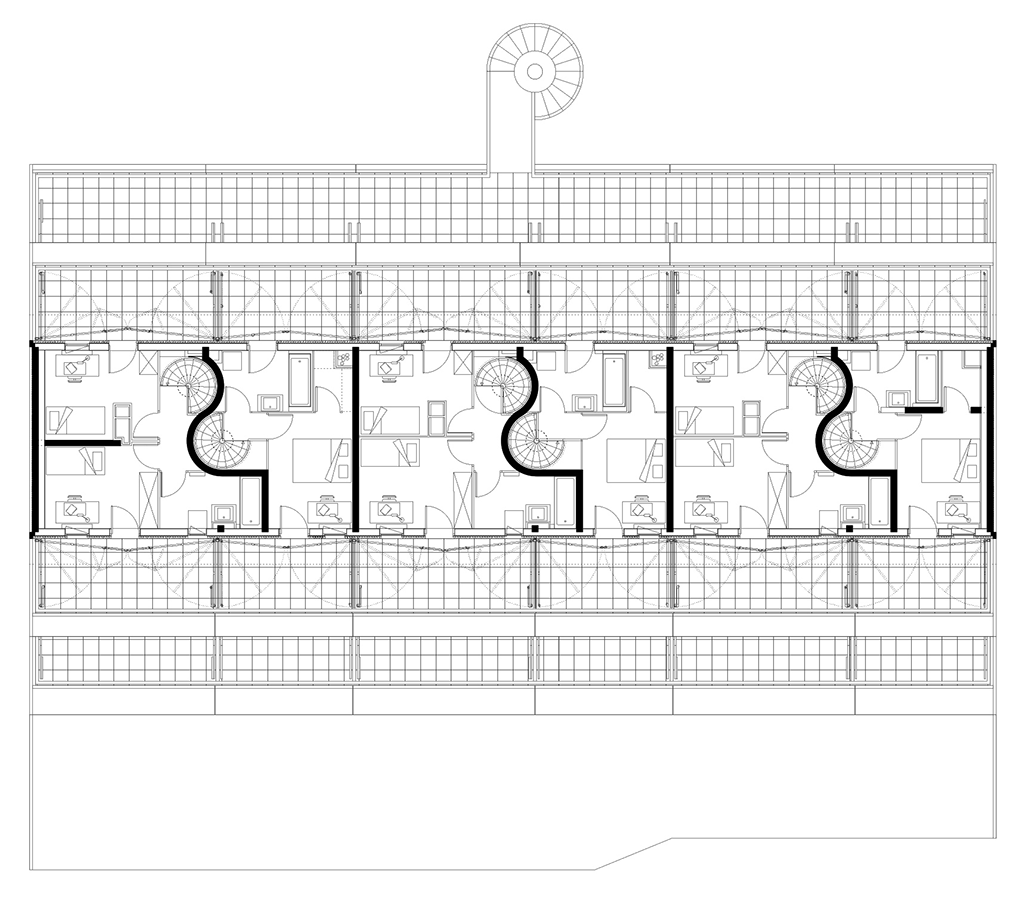 Plan du deuxième étage © Manuel Herz Architects