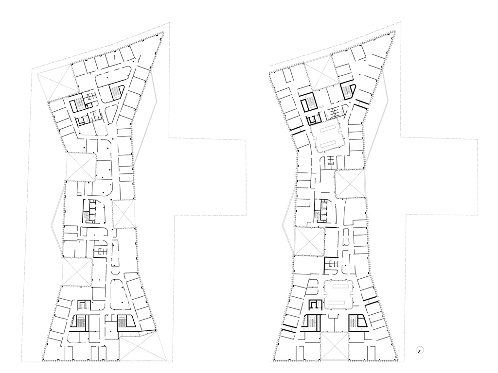 Plans des étages © Jacques Ferrier Architecture