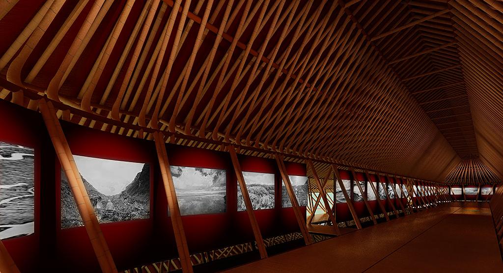 Pavillon 1, Simulation 3D de l'exposition de Matthieu Ricard dans l'allée centrale.