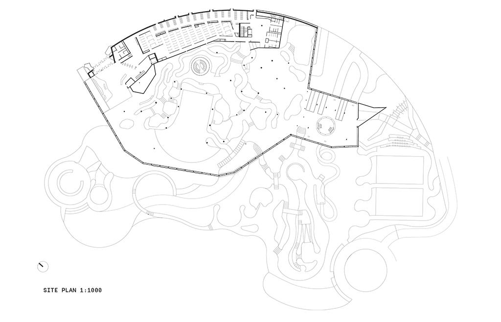 Aqualagon - plan du rez-de-chaussée © Jacques Ferrier Architecture