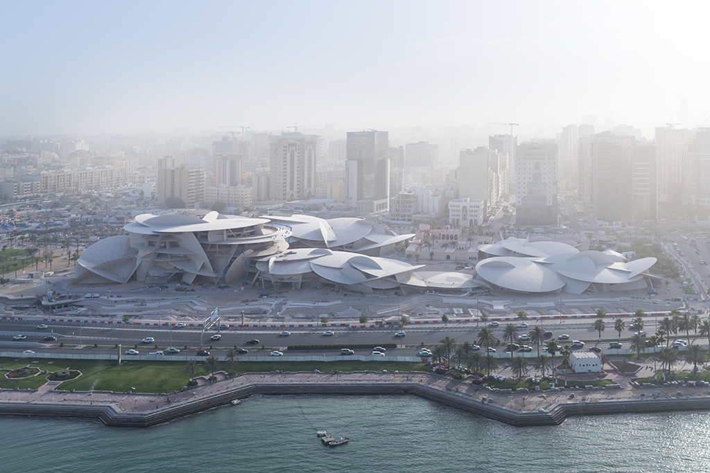 Aerial view of the new National Museum of Qatar designed by Ateliers Jean Nouvel © Iwan Baan