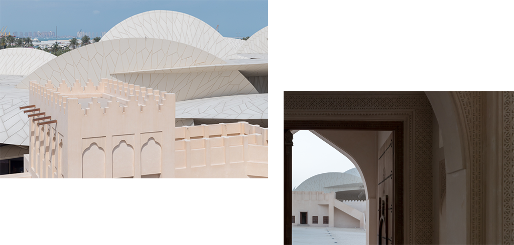 View of the restored historic Palace of Sheikh Abdullah bin Jassim Al Thani together with the new National Museum of Qatar designed by Ateliers Jean Nouvel © Iwan Baan