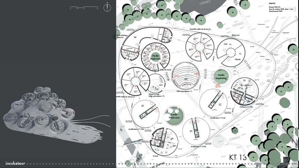 Axonométrie et plan masse de l'incubateur © Corrine Vezzoni et associés