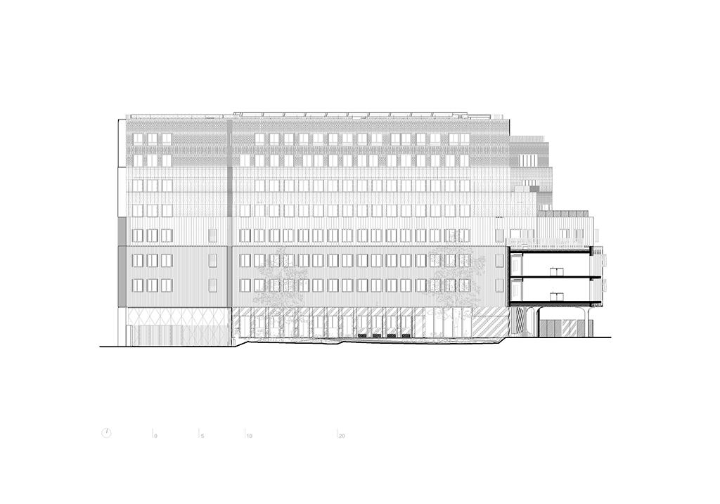 Coupe longitudinale © AAVP Vincent Parreira Atelier Architecture