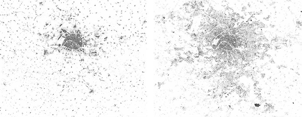 À gauche : L'Île-de-France et ses alentours, emprise bâtie (surfaces au sol occupées par des bâtiments, hors voirie et infrastructure), 264 km2 en 1900. À droite : L'emprise bâtie actuelle, 673 km2 en 2018, soit une augmentation de 155%. © éditions du Pavillon de l'Arsenal