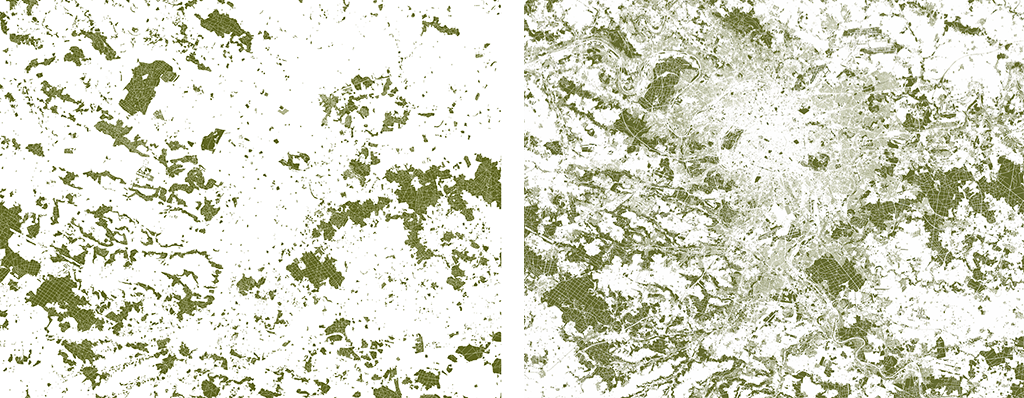 À gauche : L'Île-de-France et ses alentours, emprises de nature (surfaces de pleine terre, hors sols agricoles, voirie et infrastructures), 2 126 km2 en 1900. À droite : L'emprise de nature actuelle, 3 964 km2 en 2018, soit une augmentation de 86%. © éditions du Pavillon de l'Arsenal