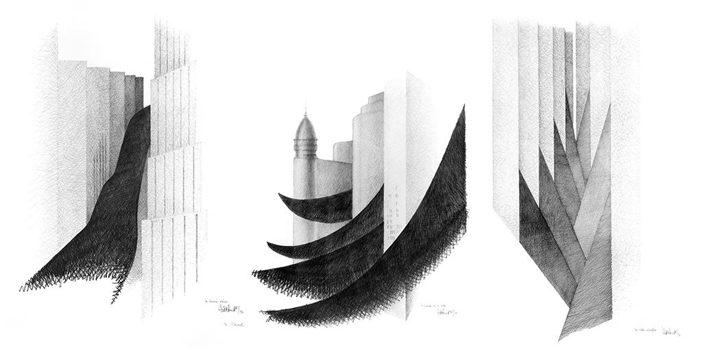 De gauche à droite : La marée noire (1990), Le Futur de la Ville (1990), La ville étouffée (1990)