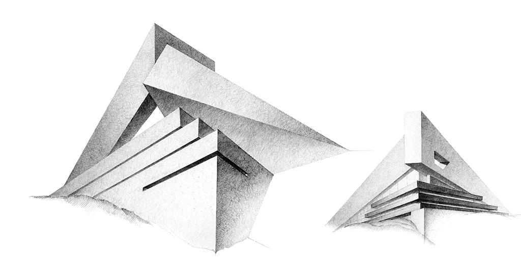À gauche : Maison d'angle (maisons improbables n°2) (1999-2000) À droite : Maison Proue (maison improbables n°1) (1999-2000)