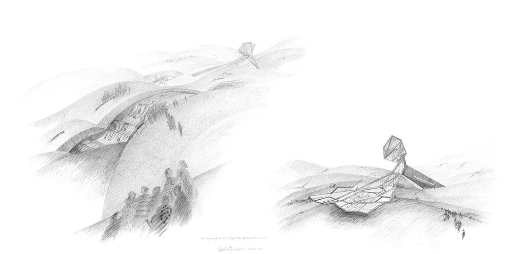 À gauche : La surface libre de la migration est la toiture de l'habitat (2010) À droite : Sur le chemin continu de la grande migration. La coupe-façade d'une halte transitoire (2010)