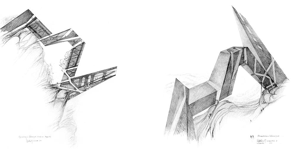 À gauche : Excroissance volcanique - coupe n°2 (2011) À droite : Excroissance volcanique - perspective 2 (2011)