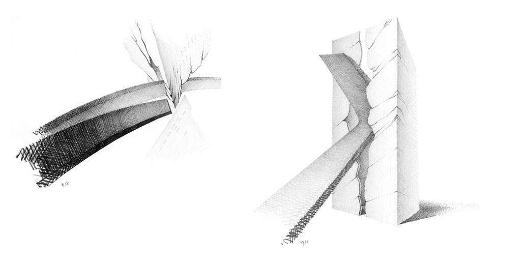 À gauche : Colère 12 - L'arc tendu (1982) À droite : Colère 8 - La douce insertion (1982)