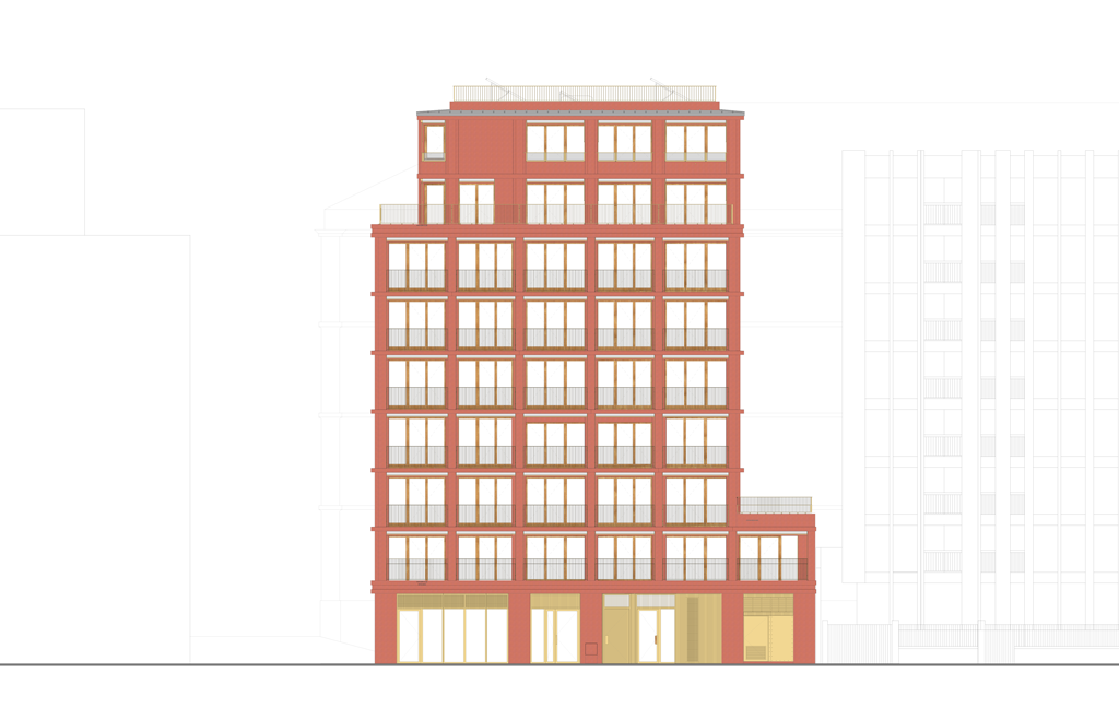 Les 22 logements sont répartis sur 8étages tandis que le rez-de-chaussée accueille unlocal d'activités de 130m2. © Charles-Henri Tachon