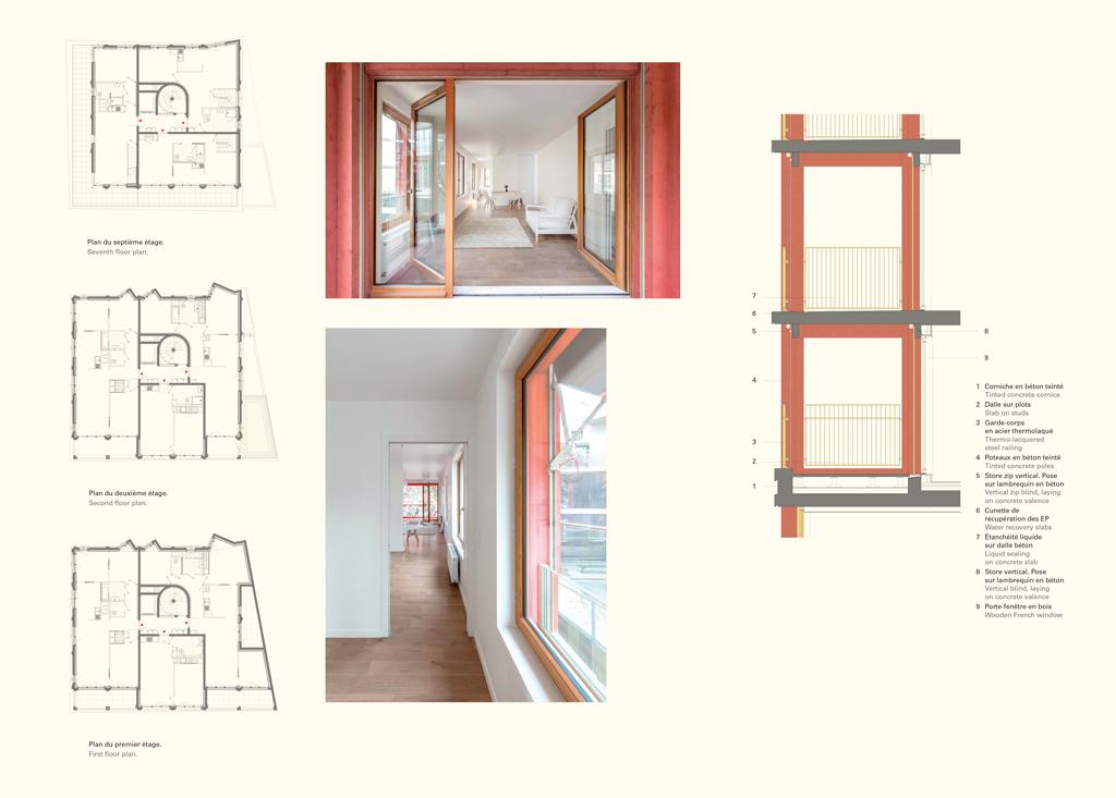 Les logements en simplex vont du T2 de 41 m2 au T4 de83m2. D'une surface de 95m2 chacun, les deux appartements en duplex sont situés aux derniers étages. Chaque logement possède unespace extérieur allant de 7 à33m2. © L'Architecture d'Aujourd'hui