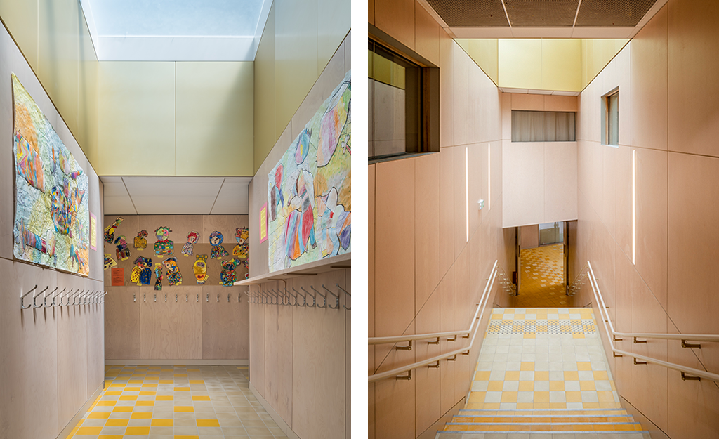 À gauche : Puits de lumière des circulations – groupe scolaire © Jared Chulski : À droite : Escaliers - groupe scolaire © 11h45