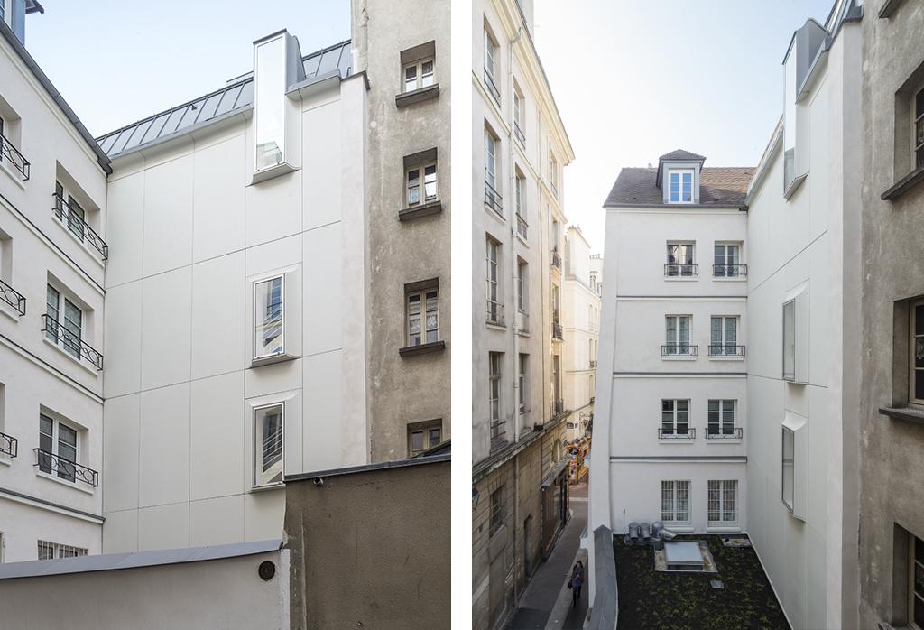 Dumont Legrand Architectes, réhabilitation et extension d'un immeuble du XVIIIe siècle rue de la Huchette, Paris, 2015.