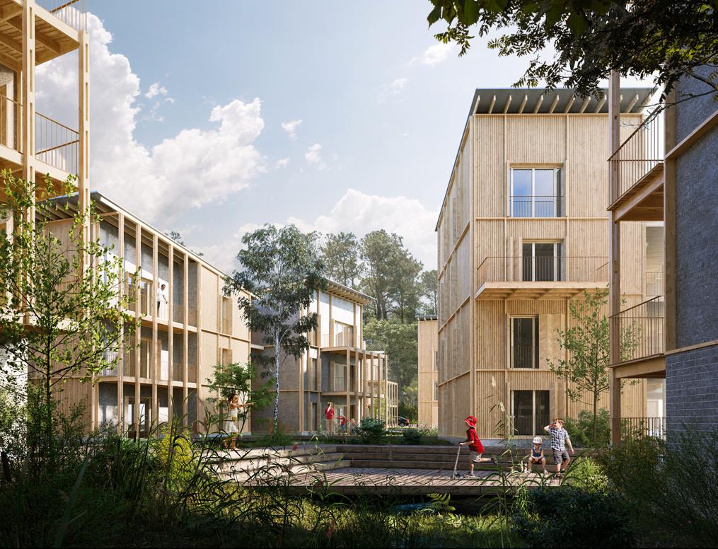 Dumont Legrand Architectes, logements en terre et chanvre, Biganos, Nouvelle-Aquitaine, en cours.
