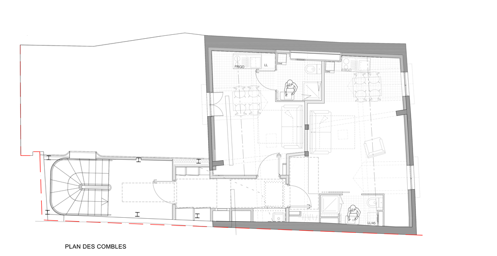 Plan des combles immeuble rue de la Huchette