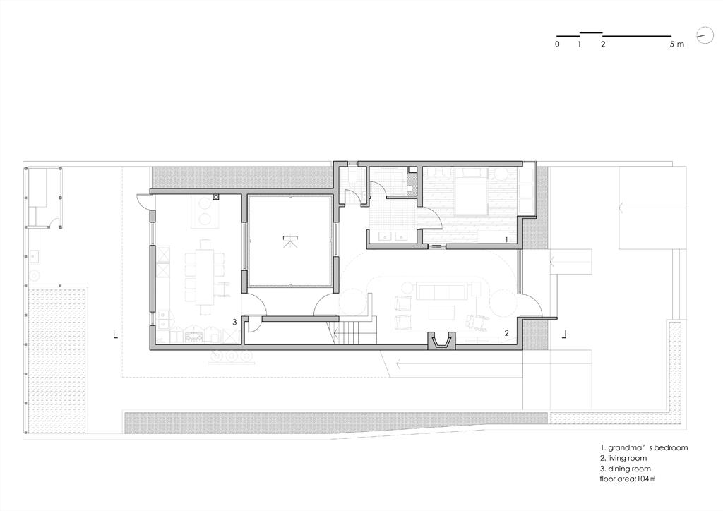 Song House, Plan du rez-de-chaussée, AZL Architects. 2017.