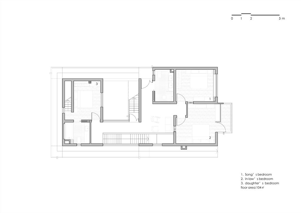 Song House, Plan du premier étage, AZL Architects. 2017.