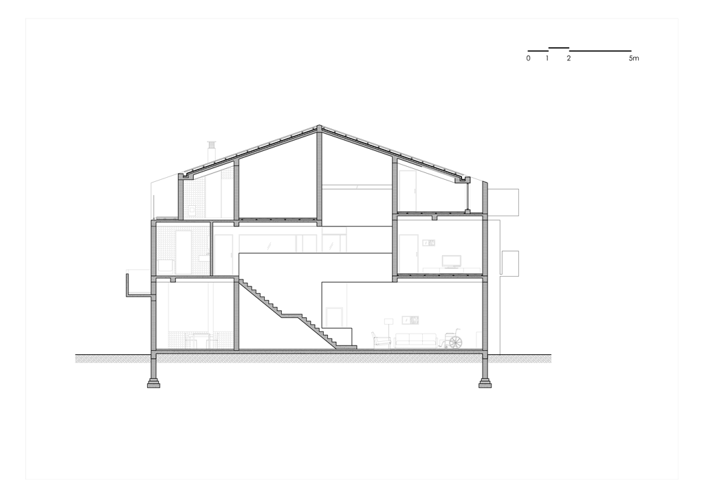 Song House, Coupe longitudinale, AZL Architects. 2017.