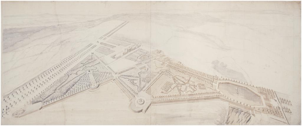 Vue aérienne des jardins paysagers de Stowe, Charles Bridgeman, 1723.