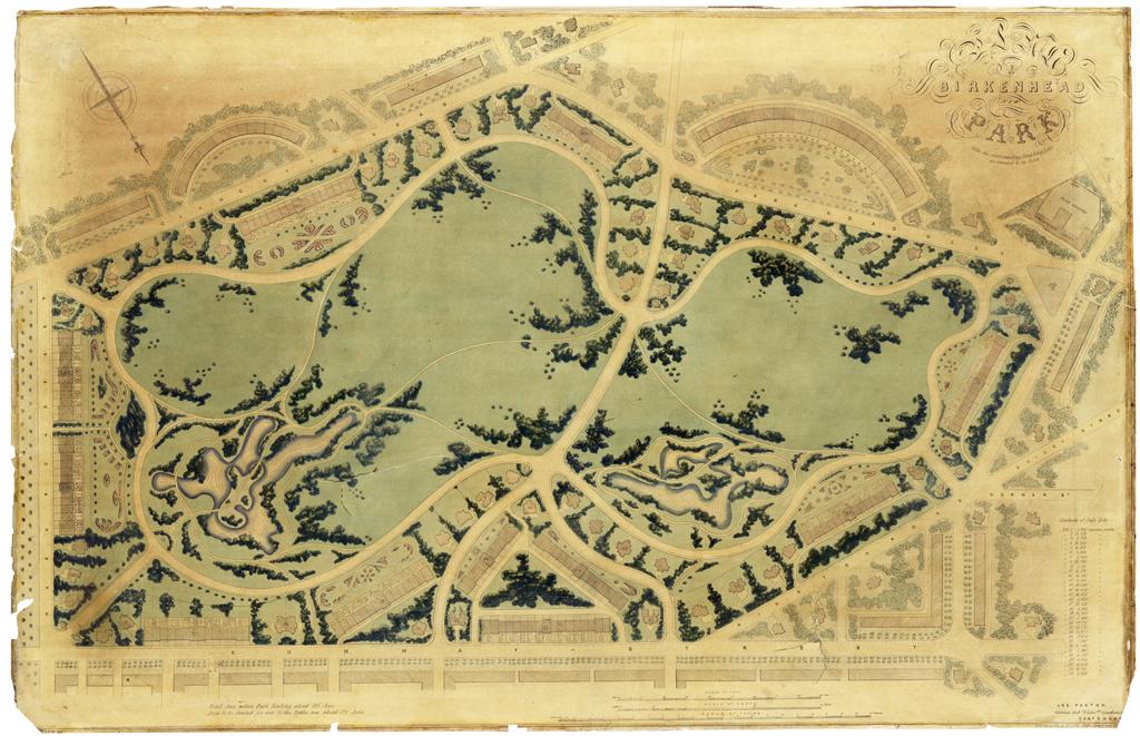 Plan du Birkenhead Park, 1843.