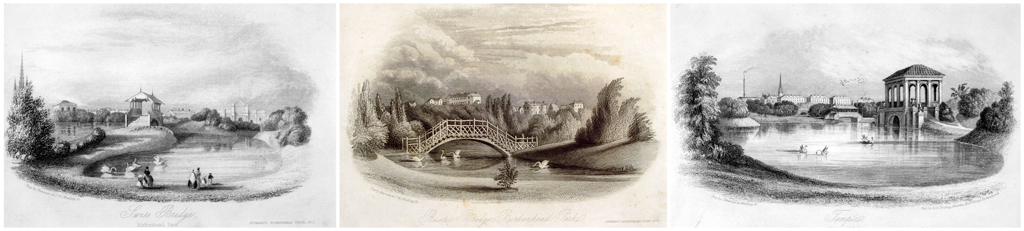 Gravures du Birkenhead Park, 1847.