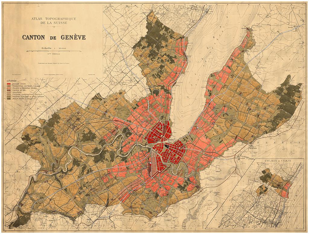 [Figure 6] Albert Bodmer, Maurice Braillard, Plan des zones du canton de Genève, 1936. © CRR de l'IAUG (Université de Genève)