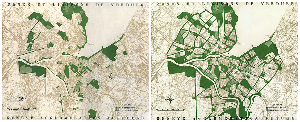 [Figure 7] Albert Bodmer, Zones et Liasons de Verdure, Genève actuelle et future, 1948. © DTP Genève (Département des Travaux Publics)