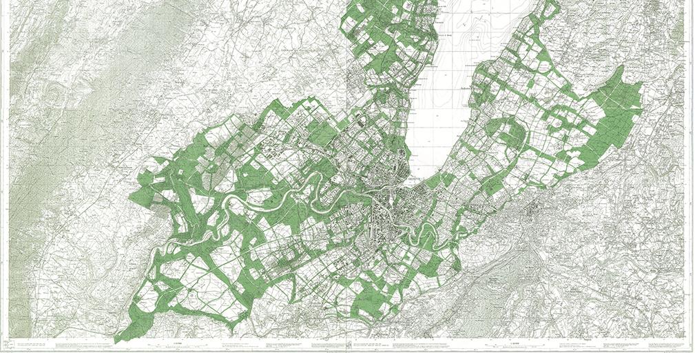 Alain Léveillé, Bodmer's Plan superimposed on existing City of Geneva, 1992. © CRR de l'IAUG (Université de Genève)