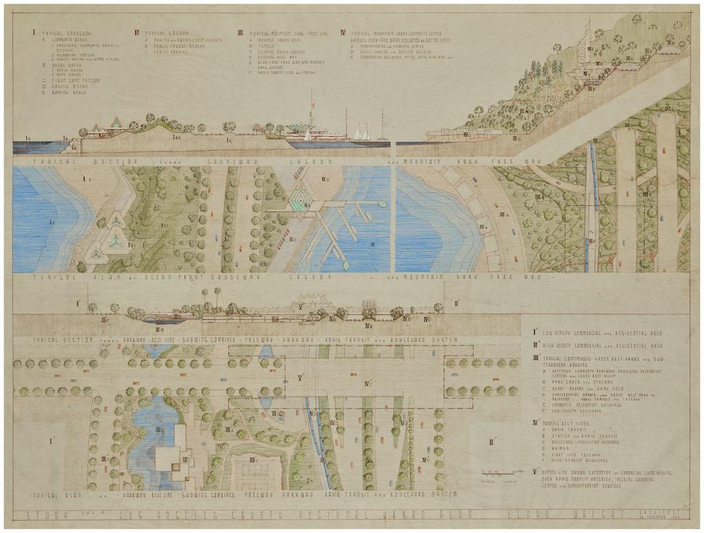 1962, Frank Lloyd Wright - coupe sur la vallée de Los Angeles