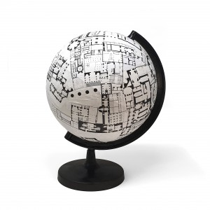 This globe called World of Interiors was made by Sam Jacob this week under lockdown.