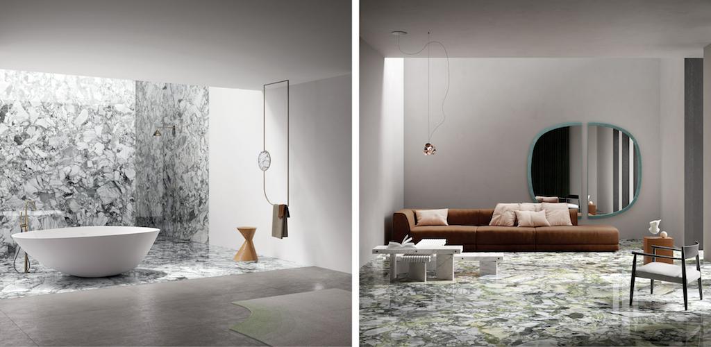 White beauty et Grey beauty, deux nouvelles gammes pour la collection MARMI MAXIMUM de Fiandre Architectural Surfaces.